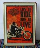 Retro plechová cedule 30x40 live to ride