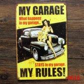Retro plechová cedule 20x30 my garage yell